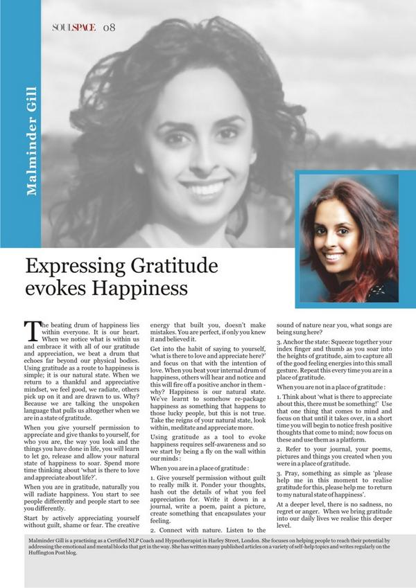 Tavleen Foundation asked leading Hypnotherapist Malminder Gill of Harley Street to talk about Happiness and Gratitude