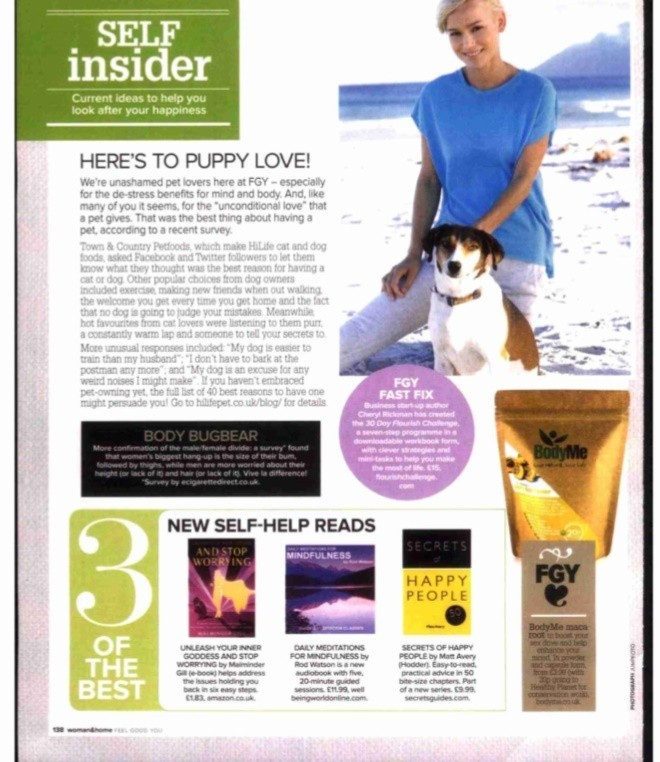 Woman and Home Feature Malminder Gill Hypnotherapist as a best self help read